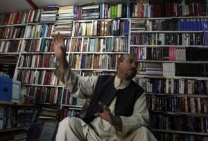 The real-life Bookseller of Kabul, Shah Rais, pictured in his bookstore in Kabul