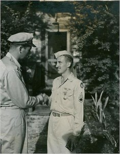 James Corliss receiving a medal for his participation in the Hiroshima mission