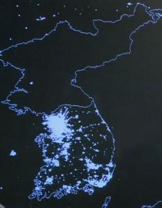 Satellite photograph of the Korean peninsula at night