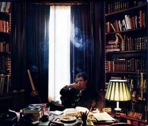 Keith Richards in his home library