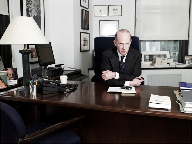 Andrew Wylie, at his big, empty desk