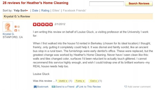 Pulitzer Winning Poet Louise Gluck Posts 5 Star Yelp Review Of Cleaning Service Mobylives