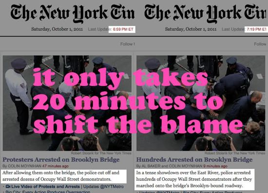 "When editing online, ""it only takes 20 minutes to shift the blame"""