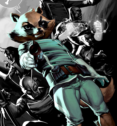 The anthropomorphic Rocket Raccoon has the same attributes as a normal raccoon (among them excellent sense of sight and smell), and is also a master marksman.