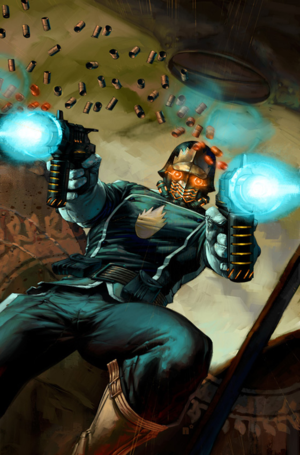 Star-Lord, leader of the Guardians of the Galaxy, is a combat expert and has a psychic link to his spaceship.