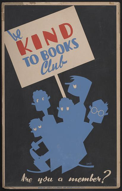 Many of the posters were meant to be displayed in libraries themselves. This series informs young patrons about the importance of taking care of library books.