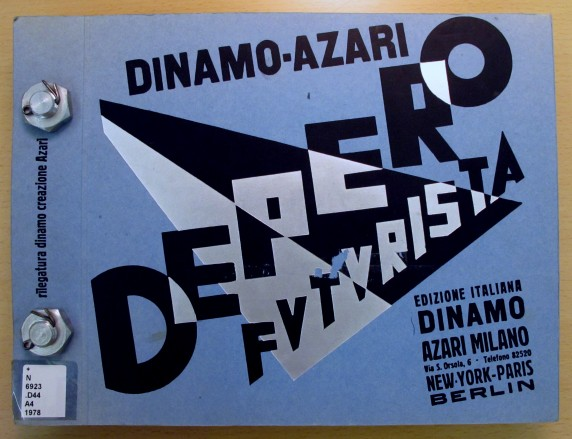 Italian Futurist Fortunato Depero's book bound by two bolts from 1927.