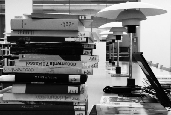A stack of books in the MoMA Library.