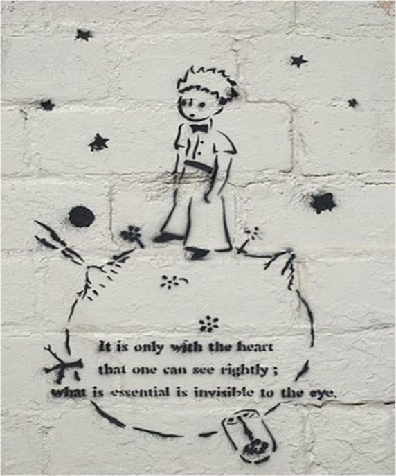 A quote from Antoine de Saint-Exupéry's The Little Prince, complete with the classic cover art of the titular character.