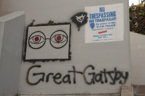 Great Gatsby graffiti, featuring the eyes of Doctor T. J. Eckleburg, in West Palm Beach, FL