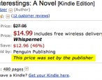 "Amazon begins discounting Macmillan ebooks; Penguin ebook prices still listed as ""set by the publisher"""