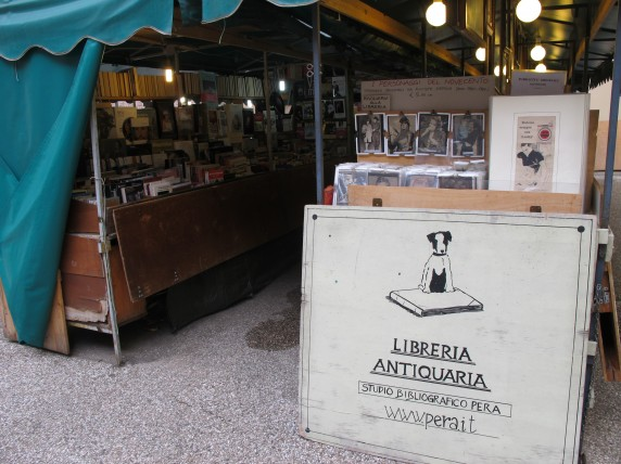 A book and print market is held everyday inside the walls of Lucca, a city in Tuscany.