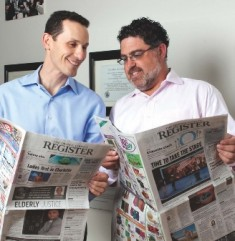 These guys love newspapers: Kushner and Freedom Communications President Eric Spitz.