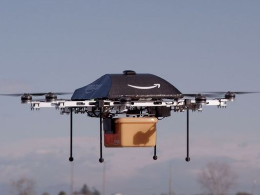 Amazon hopes to begin delivering packages via massive flying blender