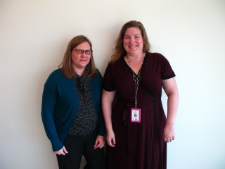 Jennifer Lawson, left, and Jenny Hanson at the San Diego County Library.