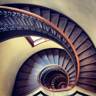 The famous spiral staircase at the Mechanics' Institute in San Francisco.