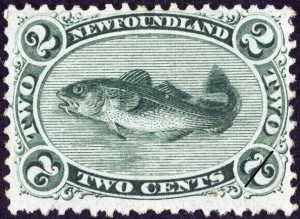 1865 Newfoundland stamp, image from Libraries and Archives Canada