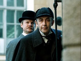 Vitaly Solomin as Watson and Vasily Livanov as Holmes in The Adventures of Sherlock Holmes and Dr. Watson