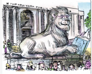 Gary Panter's illustration against the NYPL Central Library Plan.