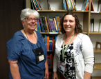 Cathy Saldin and Kristi D'Arco at the County of Los Angeles Public Library office.