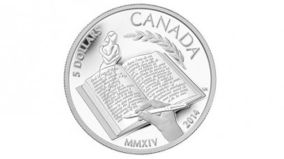 The coin freshly minted in Alice Munro's honor. Via Royal Canadian Mint.