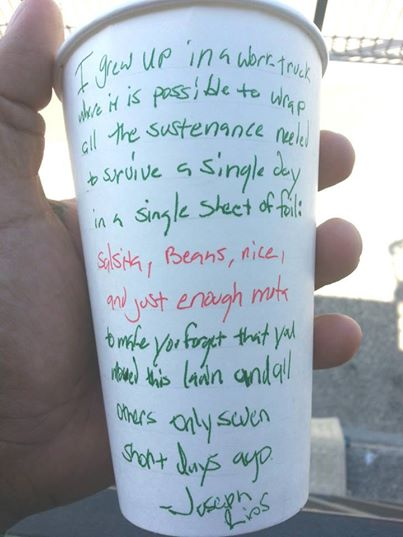 A picture posted on the Cultivating Invisibility Facebook page. Joseph Rios wrote his story on a cup he got at Flaco's in Berkeley.
