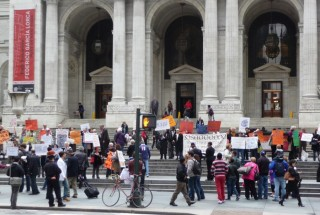 Protesters in front of the 42nd Street New York Public Library.