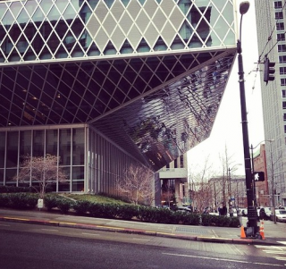 The Seattle Public Library, designed by Rem Koolhaus, occupies an entire city block.