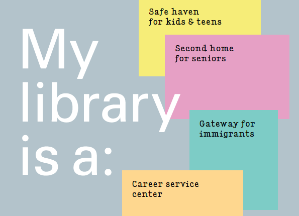 A brochure featuring feedback about libraries from the NYC library systems showcases how neighborhoods and communities are using the branches.