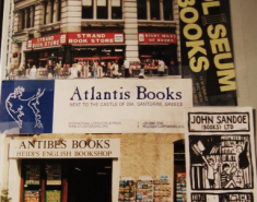 This bookmark for Atlantis Books on the wall at Shakespeare & Company in Paris inspired me to visit the shop perched on the cliffs of Santorini.