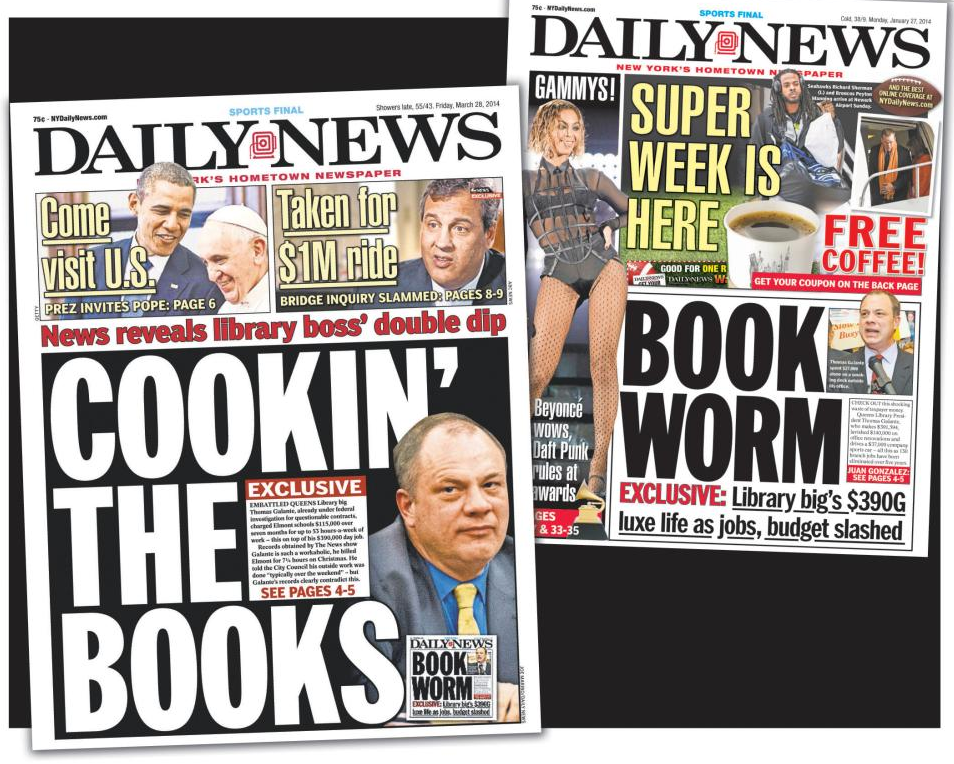Coverage of Thomas Galante's mismanagement of funds for the library has appeared in the New York Daily New.