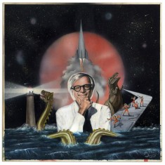 Ray Bradbury owned this painting, of Ray Bradbury chilling with a sea monster, a T-Rex, a spaceship, and a lighthouse. It was auctioned recently and is totally rad.
