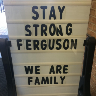 Sign in front of the Ferguson Public Library, via Twitter.