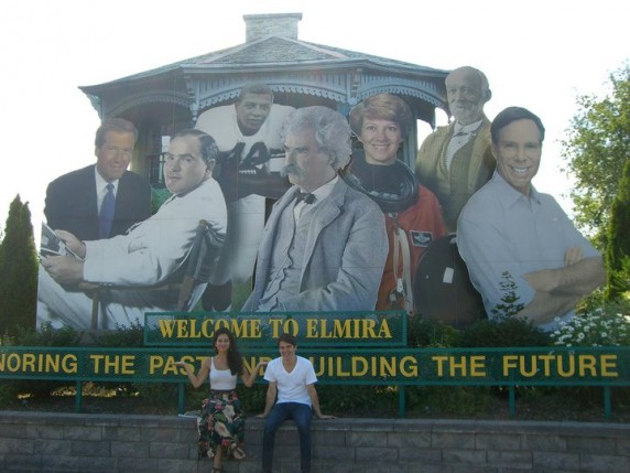 Welcome to Elmira! (The author with his friend Zehara Levin with (left to right) Brian Williams, Hal Roach, Ernie Davis, Mark Twain, Eileen Collins, John Jones, and Tommy Hilfiger)