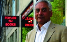 Husain, in front of Foyles' iconic sign