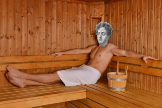 This unedited, historical image of Byron in his sauna comes to you from Shutterstock.