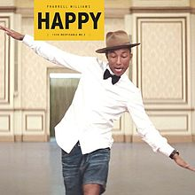 Pharrell is happy about his new book deal. (Nailed it.) No comment yet from his  hat! (Nailed it again! High five.)  I'm pretty sure he is wearing pants that are half-pant (right leg) and half-short (left leg) in this picture, btw.