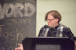 Josh Cook reads at Brooklyn's WORD bookstore.