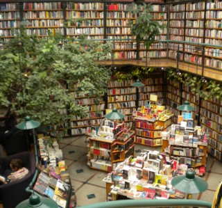 Architectural Digest recommends Cafebrería El Péndulo as one of the most beautiful bookstores in the world. Think of it as a bookstore / jungle.