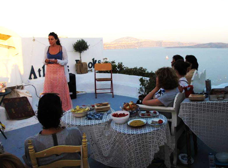A cooking demonstration on the terrace at the 2014 Atlantis Books Caldera Literary Festival.