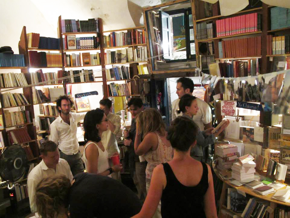 After hours in the bookshop at the 2014 Atlantis Books Caldera Literary Festival.