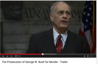 A still from The Prosecution of George W. Bush for Murder, a documentary based on Bugliosi's book of the same name.