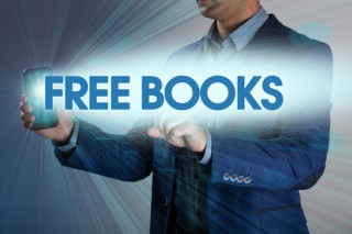 "This is what we got when we typed ""free books"" into shutterstock. (Image via Shutterstock; cover image via Twitter)"