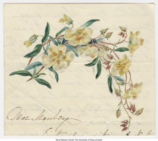 A drawing with watercolor in a letter from Maria Smith Giberne to Gerard Manley Hopkins. (Courtesy Project REVEAL at the Ransom Center at the University of Texas, Austin)